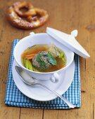 Pretzel and liver dumpling soup