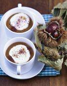 Chestnut cappuccino (Chestnut soup with amaretto & cream)