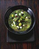 Leek soup with feta and olives