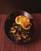 Beef and mushroom ragout with toasted bread