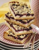 Blueberry quark cake with crumble topping