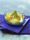 Marinated haddock with avocado puree and walnuts