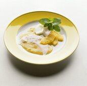 Egg white crêpes with orange sauce