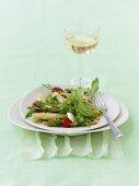 Asparagus salad with elderflower and nut vinaigrette