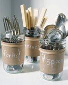 Cutlery in glass jars