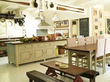 Dining table in a kitchen