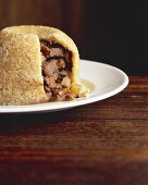Rehfleisch-Pilz-Pudding (England)