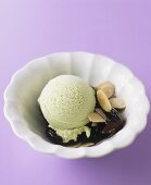 Pistachio ice cream with figs, almonds and red wine