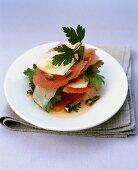 Watermelon and Pecorino salad with pumpkin seeds
