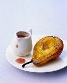 Caramel pear with rhubarb sauce