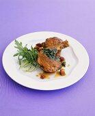 Guinea fowl ragout with pancetta, salsa verde and rocket