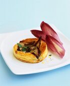 Chicory and blue cheese tart