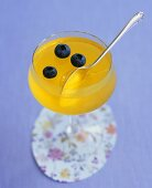 Saffron lemon jelly with blueberries for Easter
