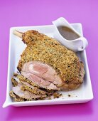 Shoulder of lamb with mint crust and gravy for Easter