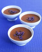 Chocolate cream with pastis and candied violets