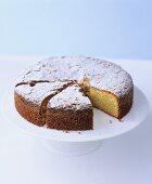 Almond Madeira cake with icing sugar