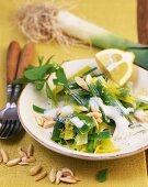 Leeks with lemon, mint and almonds