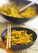 Saffron rice with Indian vegetables