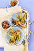 Turnip tempura with salsa