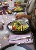 Salad leaves with chicken breast, grapefruit & coconut vinaigrette