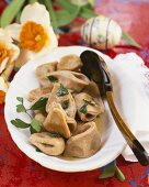 Pelmeni with cep filling, Easter decorations