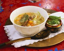 Shchi (Russian cabbage soup) with sorrel