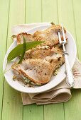 Chicken escalopes stuffed with ramsons (wild garlic) cream