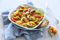 Marinated peppers with bread