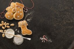 A boot and a pair of gloves made of yeast dough