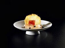 Pepper tortilla, grapefruit and olives (molecular gastronomy)