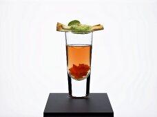 Essence of pepper with sage strudel