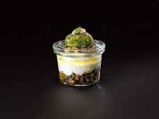 Smoked eel foam with sour lentils and camomile