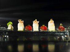 Langustine, solidified olive milk, rhubarb (molecular gastronomy)