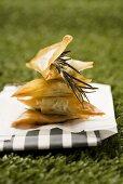 Greek samosas (feta-spiach filling and fig-walnut filling)