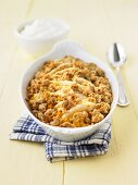 Pear and pumpkin crumble with walnuts