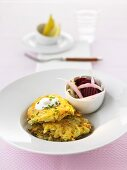 Chinese cabbage potato cakes with beetroot
