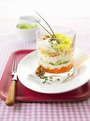 Layered salad with Chinese cabbage and walnuts