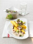 Cheese polenta with mushroom and thyme sauce