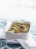 Rice bake with asparagus and spinach