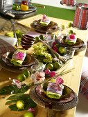 A festively decorated Caribbean-style table