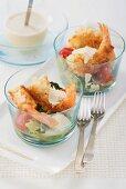 Caesar salad with crispy prawns