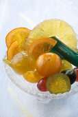 Candied fruit in a glass bowl