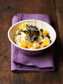 Pumpkin risotto with deep-fried sage