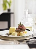 Veal fillet with scorzonera and semolina timbale