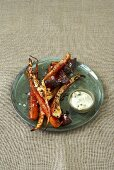 Hearty roasted vegetables with cheese dip