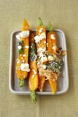 Carrots with melted feta topping