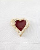 Heart-shaped jam biscuit