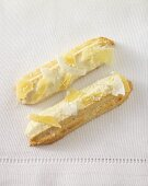 Viennese fingers with candied pineapple and coconut