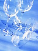 Wine glasses, standing and lying