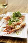 Prawns with cress salad